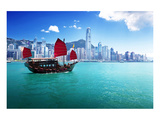 Hong Kong Harbour & Red Junk Poster