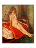 Girl on Red Cloth Giclee Print by Edvard Munch