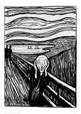 The Scream (Black and White) Giclée-trykk av Edvard Munch
