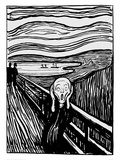The Scream (Black and White) Giclee Print by Edvard Munch