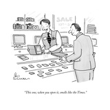 """This one, when you open it, smells like the Times."" - New Yorker Cartoon Premium Giclee Print by Leo Cullum"