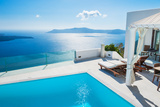 White Architecture on Santorini Island, Greece. Fotodruck von Olga Gavrilova