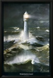 Lighthouse and Stormy Sea Print by Steve Bloom