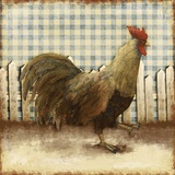 Rooster on Damask I Prints by Dan Meneely
