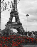 Eiffel Tower with Red Pop Print by Emily Navas