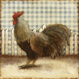 Rooster on Damask II Print by Dan Meneely