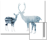 Deer in a Snowy Forest Posters