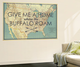 Give me a Home where the Buffalo Roam - 1933 United States of America Map Wall Mural