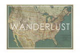 Wanderlust - 1933 United States of America Map Impression giclée