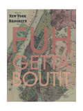 FUHGETTABOUTIT - 1867, New York & Brooklyn Plan, New York, United States Map Impression giclée