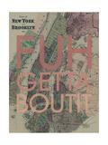 FUHGETTABOUTIT - 1867, New York & Brooklyn Plan, New York, United States Map Impression giclée