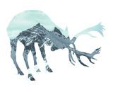 Mountain - Deer - Silhouette Fotografisk tryk