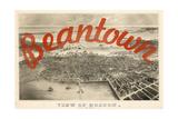 Beantown - 1870, Boston Bird's Eye View on July 4th, Massachusetts, United States Map Giclee Print