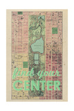 Find Your Center - 1867, New York City, Central Park Composite, New York, United States Map Giclee Print