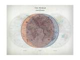 Venn Diagram of Humans - 1873, The World in Hemispheres Map Impression giclée