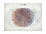 Venn Diagram of Humans - 1873, The World in Hemispheres Map Giclee Print