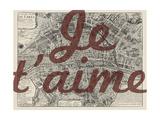 Je Taime - Paris, France, Vintage Map Impression giclée