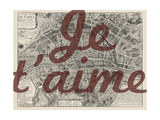 Je Taime - Paris, France, Vintage Map Giclee Print