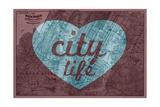 City Life - 1891, New York, Map, Brooklyn, Jersey City, New York, United States Map Impression giclée
