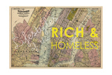 Lifestyles of the Rich & Homeless - 1891, New York, Brooklyn, & Jersey City Map Giclee Print