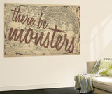 There Be Monsters - 1562, World Map Wall Mural