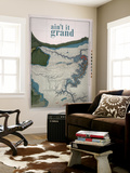 Ain't it Grand - 1882, Grand Canyon Map - The Kanab, Kaibab, Paria and Marble Canon Platforms Wall Mural
