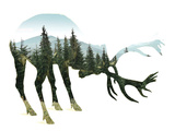 Forest - Deer - Silhouette Plastic Sign
