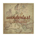 Wanderlust - 1915 Europe Map with Africa and Asia Map Giclee Print