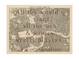 All the World's a Stage (Shakespeare) - 1892, Central London, United Kingdom Map Giclee Print