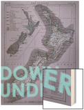 Down Under…er - 1895, New Zealand Map Wood Print