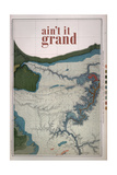 Ain't it Grand - 1882, Grand Canyon Map - The Kanab, Kaibab, Paria and Marble Canon Platforms Giclee Print