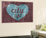 City Life - 1891, New York, Map, Brooklyn, Jersey City, New York, United States Map Wall Mural