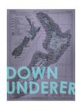 Down Under…er - 1895, New Zealand Map Giclee Print