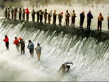 Fishermen Brave the Cold Waters at Bennett Spring State Park for a Chance to Catch Trout Metal Print