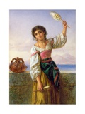 Young Girl with a Distaff Metal Print by Joseph Bouvier