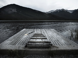 A Small Dock on Vermillion Lakes at Dusk Posters af Keith Barraclough