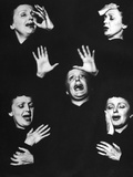French Nightclub Singer Edith Piaf Singing During Her Performance at the Versailles Nightclub Metal Print by Allan Grant