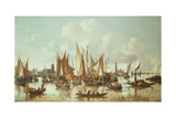 Dutch Ships at Dordrecht Harbour Giclee Print by Hendrick De Meyer
