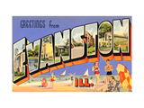 Greetings from Evanston, Illinois Metal Print