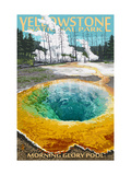 Morning Glory Pool - Yellowstone National Park Metal Print by  Lantern Press