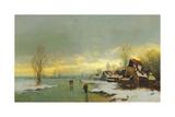 People Walking on a Frozen River Giclee Print by Johann Jungblut II