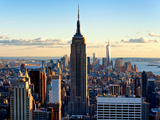 En ville au crépuscule, Empire State Building et One World Trade Center (1WTC), Manhattan, New York Reproduction sur métal par Philippe Hugonnard
