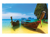 Thai Boats Beach Sea Scenery Posters