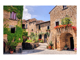 Quaint Hill Town Corner Italy Prints