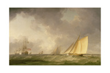 Cutter Close Hauled in a Fresh Breeze, with Other Shipping, C.1750 Giclee Print by Charles Brooking