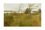 Gathering Firewood by the Shore of a Lake Giclee Print by Alexander Mann