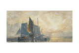 Fishing Boats at Anchor: Sunset, 19th Century Giclee Print by William Roxby Beverly