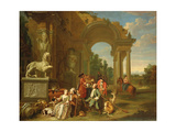 A Hunting Party in Classical Ruins Giclee Print by Peter Jacob Horemans