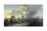 The Port of Amsterdam, View of the Ij, 1666 Giclee Print by Ludolf Backhuysen