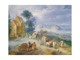 Landscape with Peasants, Carts and a Ferry Giclée-Druck von Joseph van Bredael